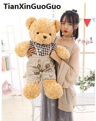 large 80cm cartoon teddy bear plush toy lovely dressed cloth bear soft doll throw pillow birthday gift b0747 cartoon glasses panda in yellow cloth large 70cm plush toy panda doll soft pillow christmas birthday gift x031