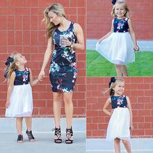 Summer Mommy and Toddler Girl Matching Flower Dresses