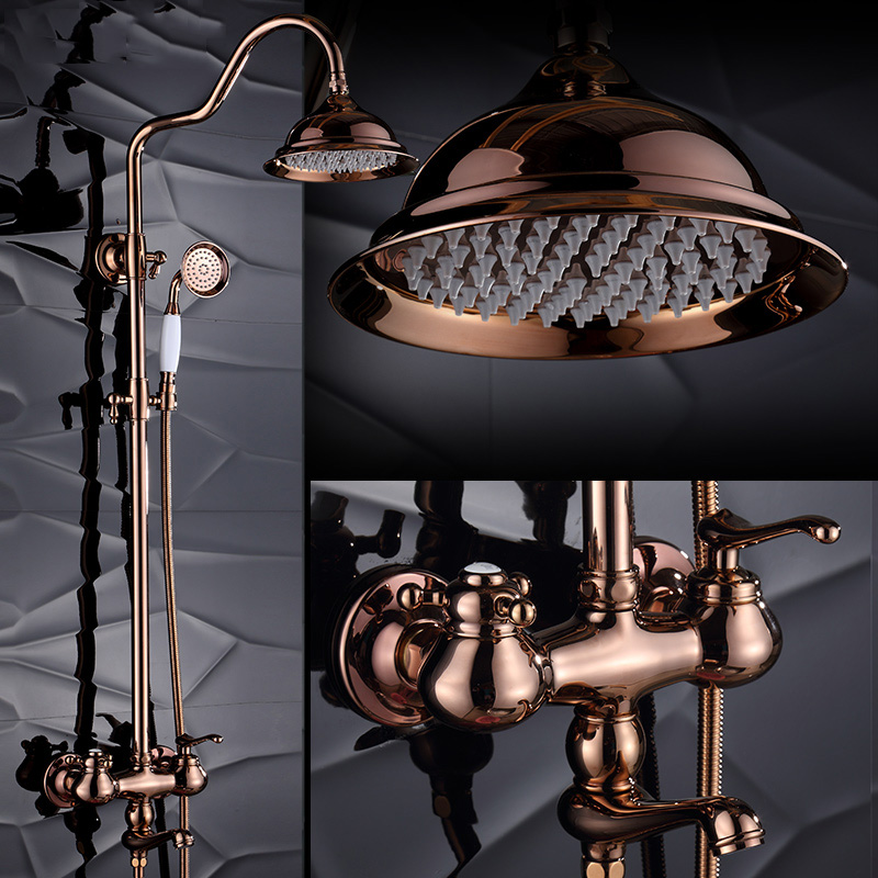 Shower Tap Set Wall Mounted Antique Rose Golden Bath Faucet with Brass , 8 Inches Big Waterfall Shower Head