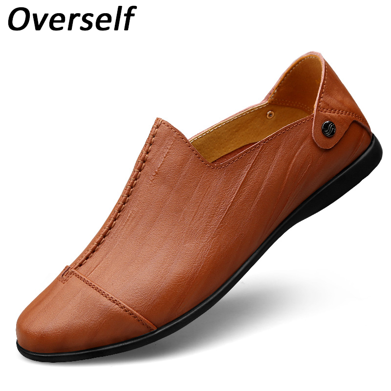 Breathable men's dress causal shoes leather luxury brand mens loafers moccasins slip on men shoe flats for man plus big size2017 nightclub luxury fashion slip on embossed leather dress shoes flats big size men moccasins casual shoes mens loafers espadrilles