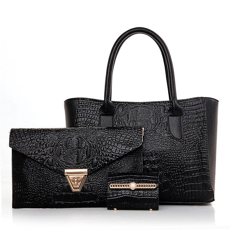 3Pcs/Lot Women Famous Brands Designer Handbags Women Messenger Bags Crocodile Pattern Shoulder Bag Dollar Price Bolsos Sac A0261