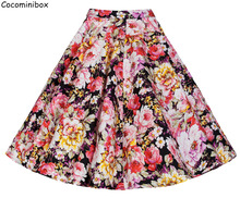 Cocominibox Women's Spring Tutu Pleated Skirt Summer Vintage Flower Printed High Waist Flared Knee Length Ball Gown