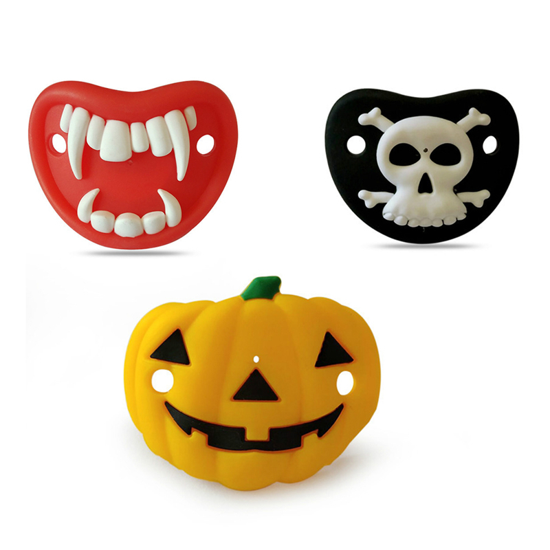 Baby Cartoon Funny Pacifier Food Grade Silicone Nipple Halloween Pumpkin Mask Shape Soother for Infant Toddler Newborn