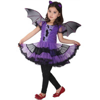 Bat Girl Costume Children Cosplay Dance Dress Cape Cloak Costumes For Kids Little Witch Halloween Lovely