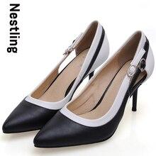 Nouvelle 2016 printemps mode femmes OL robe chaussures femme Sexy bout pointu talons hauts noir blanc couture boucle cheville femmes pompes D35