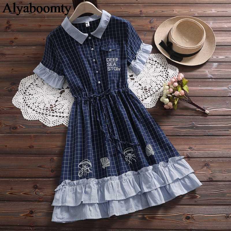 Новый японский Мори Девушка Лето женщины Лолита платье Синий Черный с цветочным принтом свободный халат Femme милый Kawaii плед оборками платье