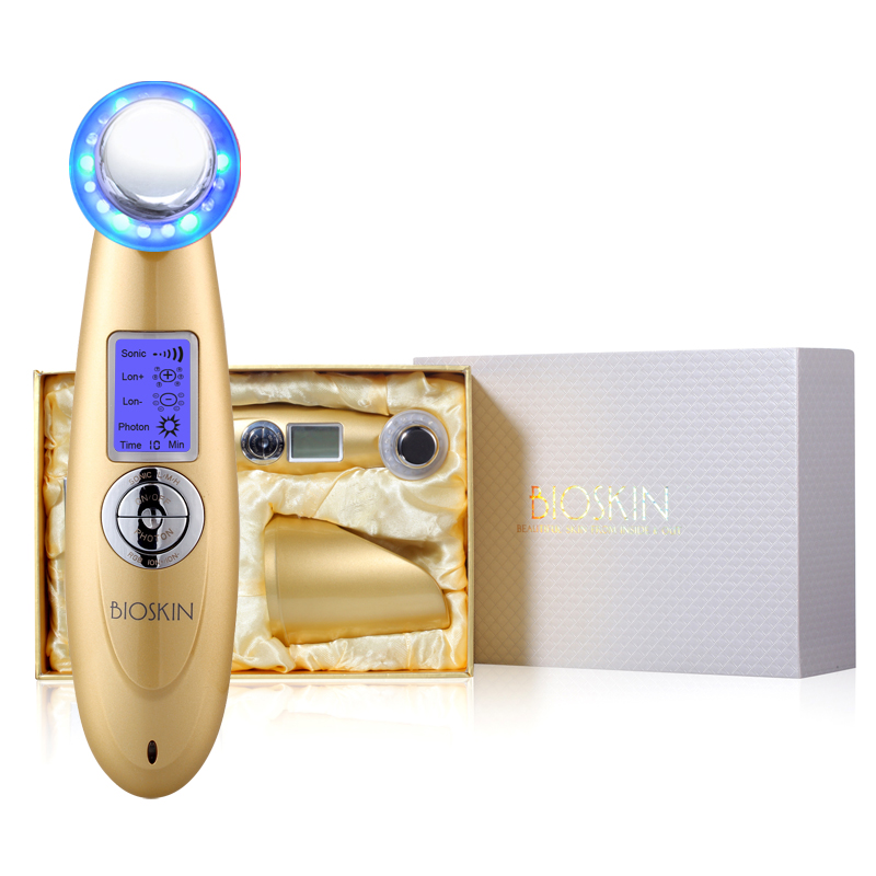 Купить с кэшбэком BIOSKIN Smart Ultrasonic Ion Beauty Device Face Skin Care Tighten Lifting Massager  Machine LED Photon