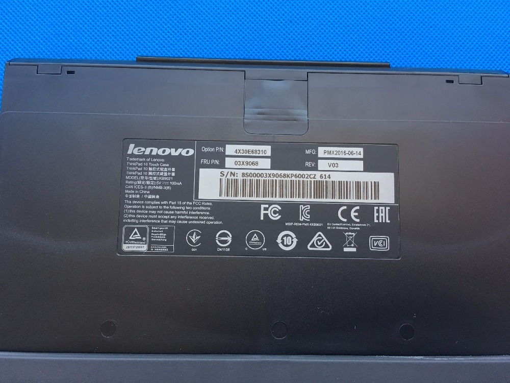 New Original For Lenovo ThinkPad 10 Tablet Touch Keyboard Leather Case English US JP EU 03X9068 03X9051 03X9045 03X9064 03X9061