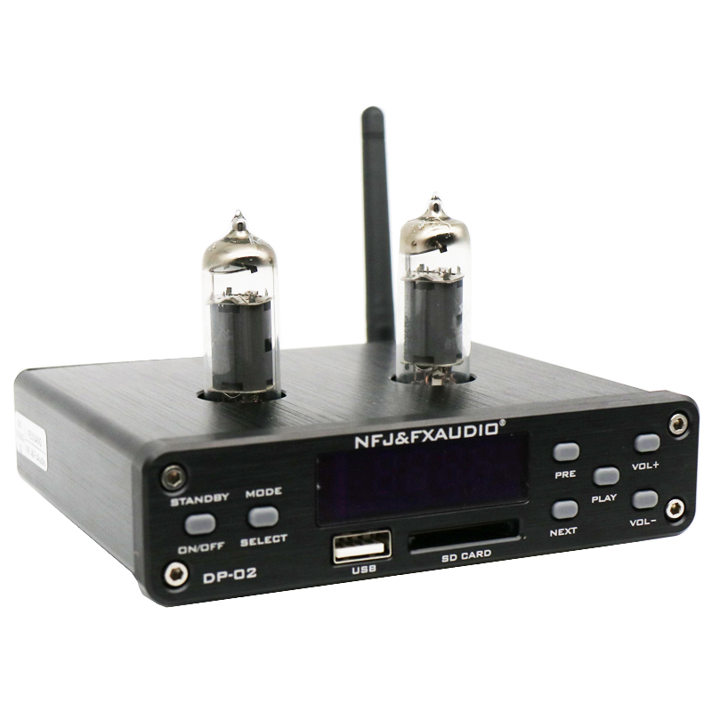 NFJ & FXAUDIO DP-02 6K4 MINI HiFi Bluetooth Audio préamplificateur tube amplificateur casque sortie amplificateur avec u-disk/carte SD