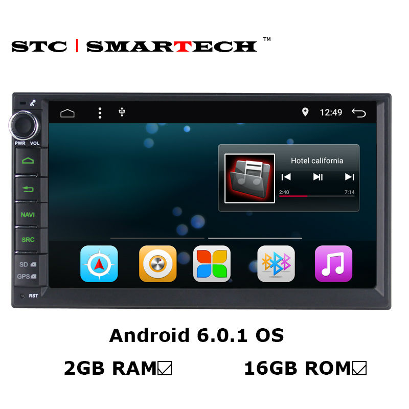 SMARTECH 2 Din Car Radio GPS Navigation Android 6.0.1 OS 2GB RAM 16GB ROM Quad Core Autoradio Support 3G WIFI OBD Bluetooth smartech 2 din android 6 0 1 os car gps navigation quad core 7 inch car stereo radio head uint support video output dab obd dvr