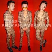 Мода Прохладный Мужской Личность Золотой Блеск Slim костюмы ночной клуб певец DJ выступлений одежда мужская одежда