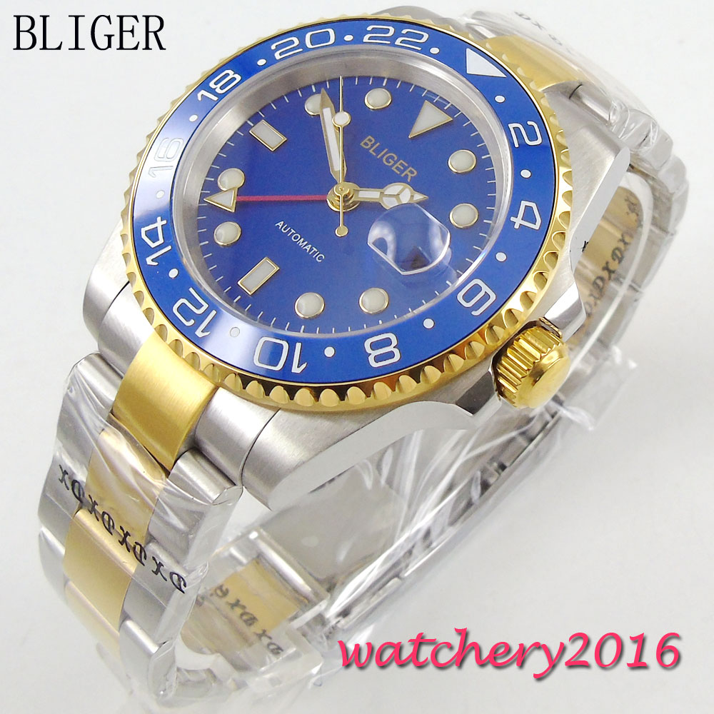 Фото New 40mm Bliger sapphire glass blue dial ceramic bezel luminous hands Full Stainless Steel GMT Automatic Movement Men