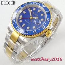 лучшая цена New 40mm Bliger sapphire glass blue dial ceramic bezel luminous hands Full Stainless Steel GMT Automatic Movement Men's Watch