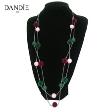 Dandie Fashionable Necklace With Rubber Beads And Pompon Decoration, Fashion Statement Jewelry, Womens Accessory