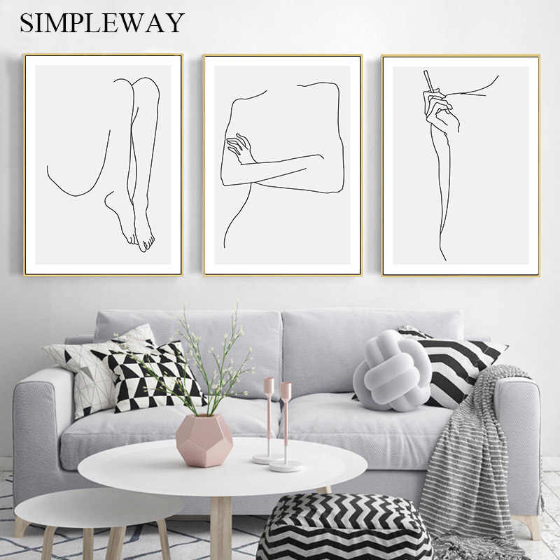 Line Drawing Woman Body Abstract Poster Canvas Wall Simple Art Print Painting Minimalist Decorative Picture Modern Home Decor