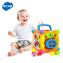 лучшая цена HUILE TOYS 936 Kids Activity Alphabet Cube Baby Play Toy 13 Stackable Blocks Learning Baby Infant Toddler Music Game Toys Gifts