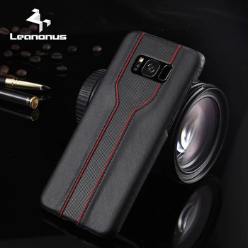 LEANONUS High-grade PU Leather PC Cell Phone Case for Samsung Galaxy S8 Plus Back Cover Anti-knock Protector for Galaxy S7 Edge