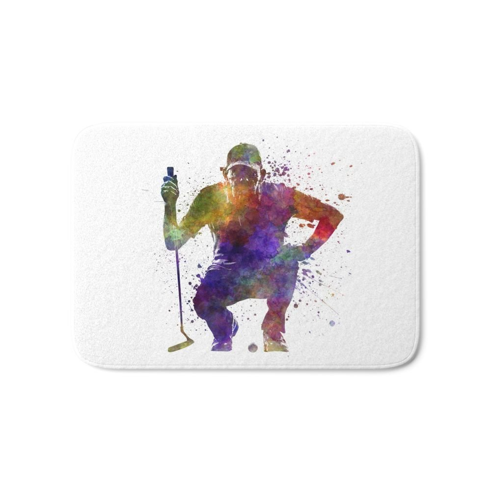 Man Golfer Crouching Silhouette Bath Mat 21 x 34 Printed Carpets Anti Slip Modern Kitchen Rugs Home Decor