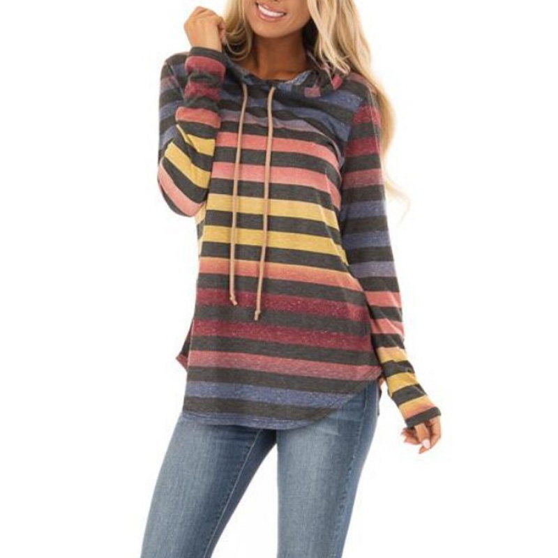 Women Autumn Hoodies Striped Mixed Color Pullover Tops Slim Fit Sweatshirt Female Lady Casual Hoodies KS-shipping