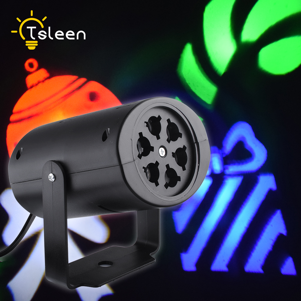 TSLEEN Free Shipping! RGB Stage LED Light Party Disco Projector Laser Lamp Anto Rotating Lamp With Replaceable Lens UK Plug