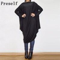 Preself Dresses Phụ Nữ New Casual Batwing Long Sleeve Loose Asymmetic Ăn Mặc Oversize Cô Gái Cà Phê Đen Màu Sắc