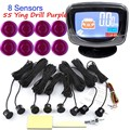 hot sale 8 Sensors Buzzer Car Parking Sensor Kit Reverse Backup Radar Sound Alert LCD display monitor 12V 44 Colors for choice
