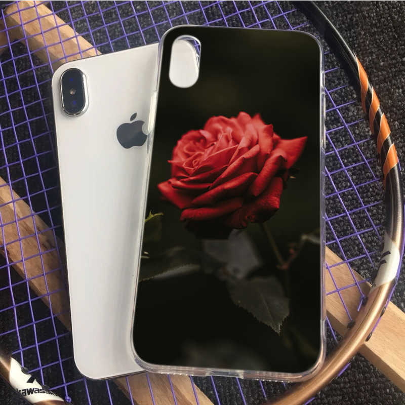 OUTMIX עלה ניצן טיפות אדום פרח רקע מצחיק כיסוי עבור iPhone של אפל 5 5S 6 6 s 7 8 X XS max XR 7 בתוספת 8 בתוספת 6 בתוספת טלפון מקרה