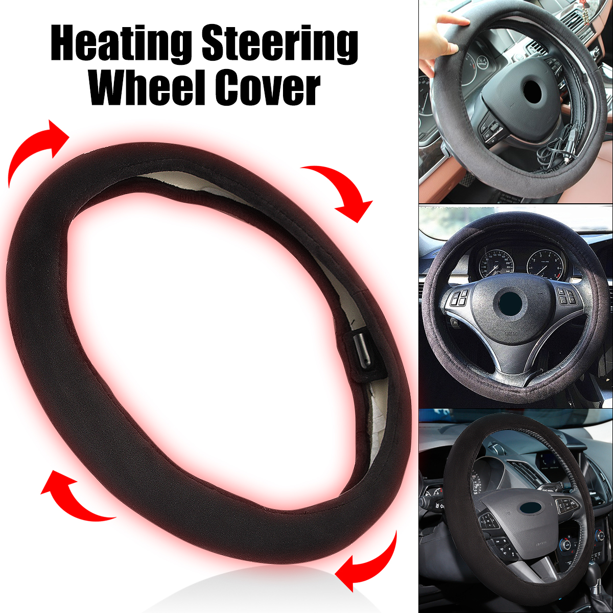 12V 38cm Car Lighter Plug Heated Heating Electric Steering Wheel Covers Warmer Winter Steering Covers Universal covers