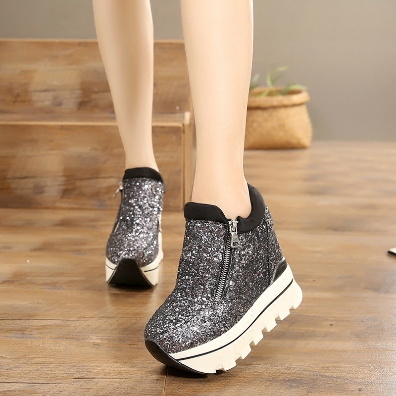 Women Sneakers Fashion Sequined Women Height Increasing Breathable Lace-Up Wedges Sneakers Platform Shoes Woman Casual Shoes