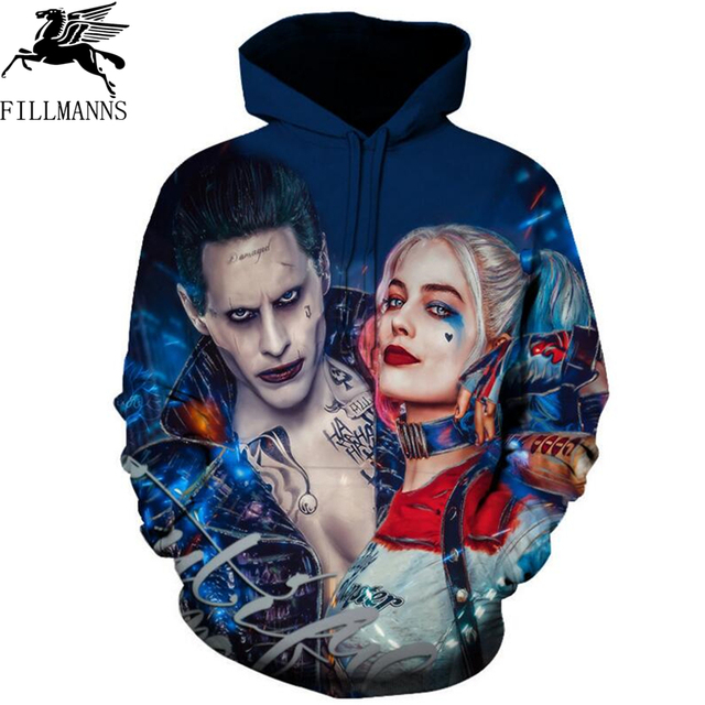 FILLMANNS Hot Fashion Men/Women 3d Sweatshirts Print Suicide squads Hooded Hoodies Hip Hop spring Thin Unisex Pullovers Tops