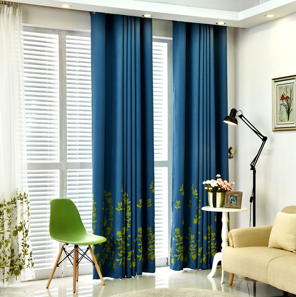 Blue contemporary curtains - Willow Shoots Rural Embroidery Window Curtain Cloth Contemporary And Contracted New Curtains For Living Dining Room