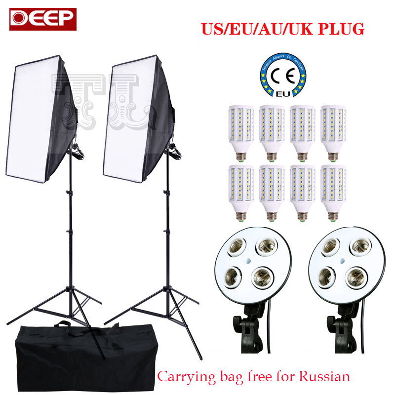 Photo Camera 8 bulb 24W LED E27 Photo Studio Softbox video lighting kit photography studio Accessories 2 light stand 2 softbox