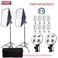8pcs 24W LED Photo Soft box 100-240V Photo stuido photography light Continuous Lighting video softbox kit Carrying bag