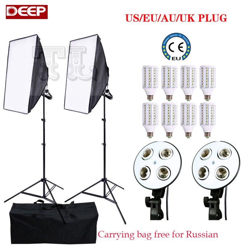Câmera fotográfica de 8 bulbo 24 W LED E27 Estúdio Fotográfico Softbox kit de iluminação de vídeo estúdio de fotografia Acessórios 2 suporte de luz 2 softbox