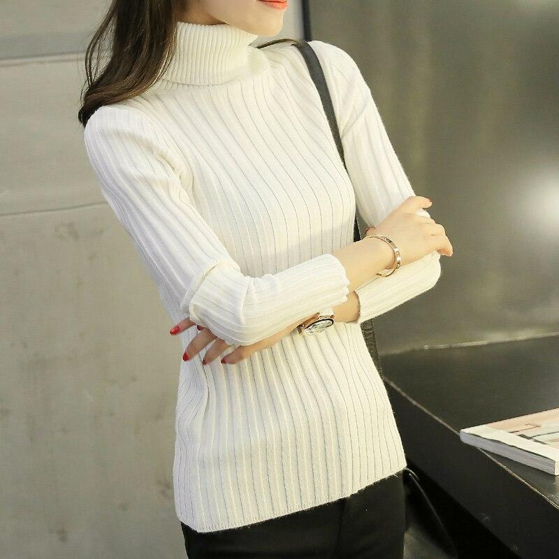 2017 nuevo invierno Coreano Camisa de Cuello Alto suéter Largo Suéter Manga Cort