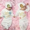 Осень Новый Romper Младенца Хлопка Цветок Маленькая Сестра Девочка Приходит Домой наряд Младенца Платье Ползунки + Шляпа 2 шт. набор