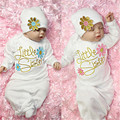 Autumn New Baby Romper Cotton Flower Little Sister Baby Girl Coming Home outfit Baby Gown Romper+Hat 2pcs Set