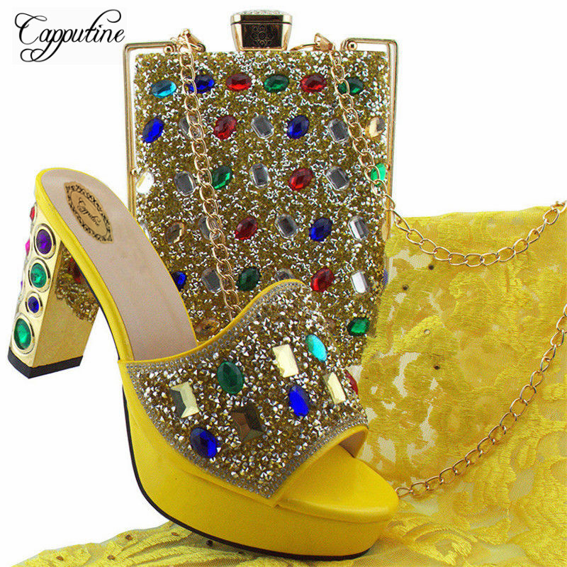 Capputine Yellow Color Rhinestone Shoes And Bag Set For Wedding New Italian Woman High Heels Shoes And Bag Free Shipping YD002 free shipping nylon pure black color soft backpacks storage bag for shoes and clothing with drawstring closure zz225
