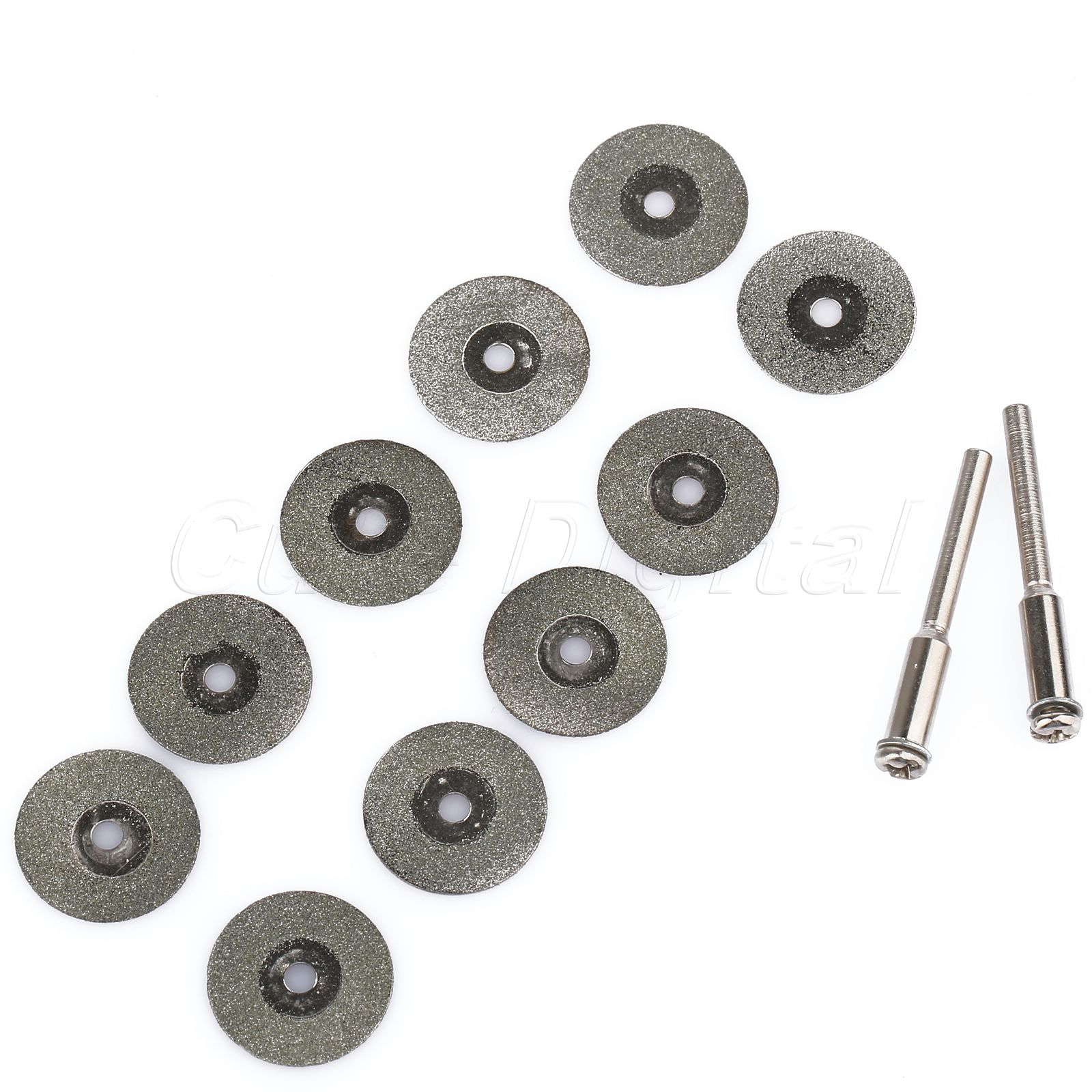 10pcs Rotary Diamond Coated Cutting Off Disc Blade Wheel 18mm 2 Mandrel Arbor