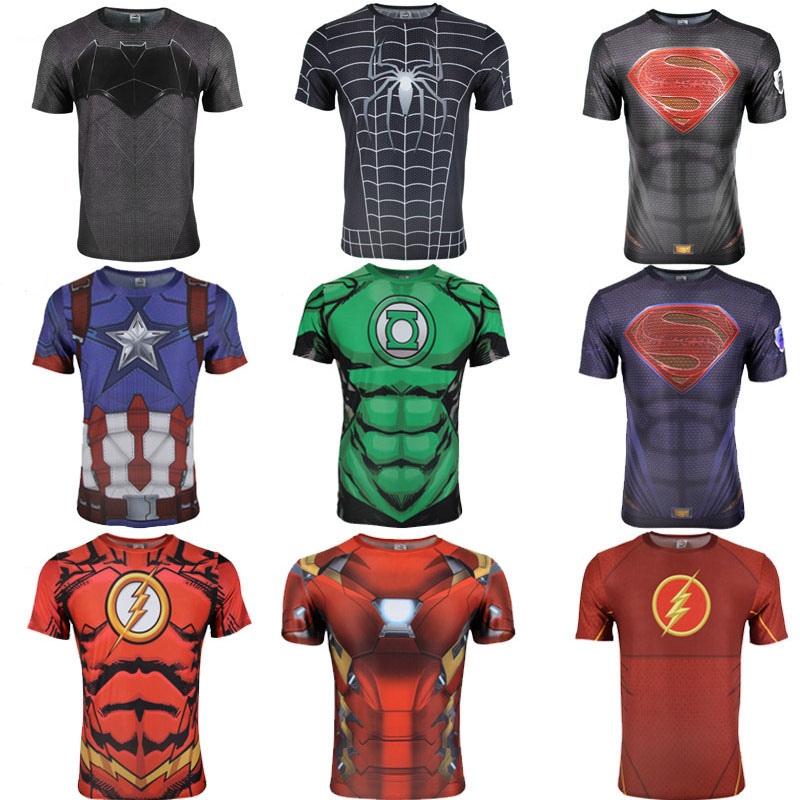 Summer Spider-Man Iron Man Avengers Marvel Movie Series Super Hero 3D Short Sleeve