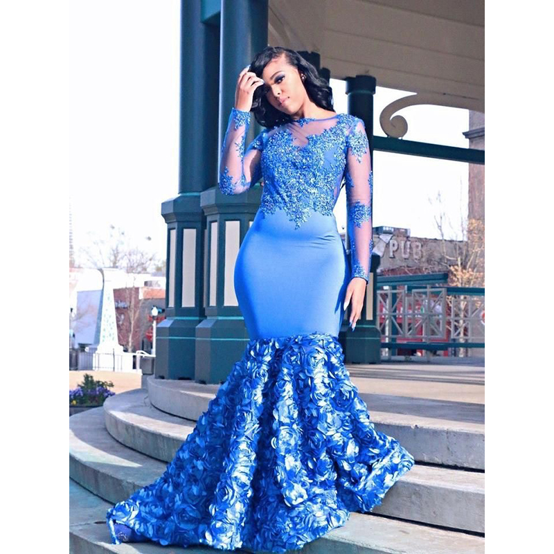 cea1c4d78d9b Royal Blue Long Mermaid Prom Dresses 2019 New Long Sleeve Beading Lace  Applique Floor Length Formal Evening Dress Party Gowns ~ Hot Sale July 2019