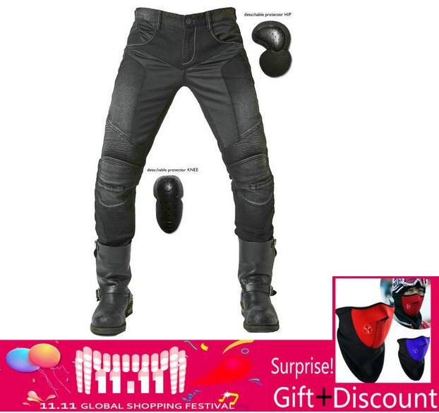 UglyBROS JUKE UBP 01 Jeans Black Summer Mesh Breathable Men's Jeans Motorcycle Protective Pants Racing Pants Moto Pants