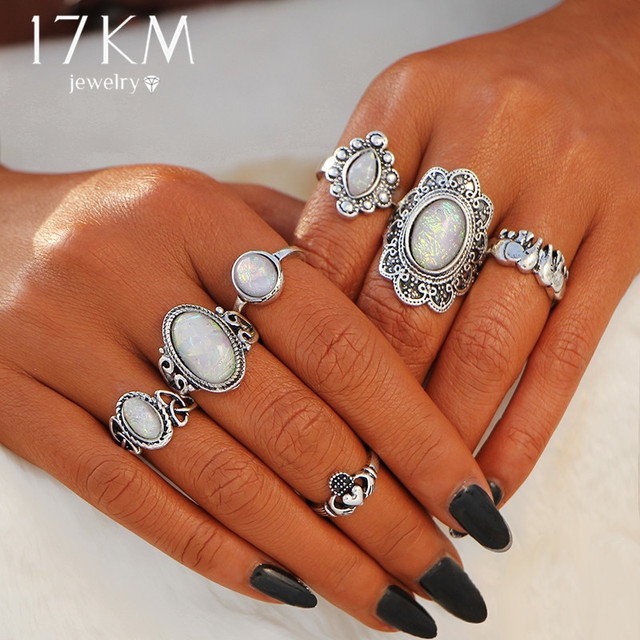17KM Boho Vintage Flower Opal Rings For Women Geometric Pattern Big Knuckle Ring