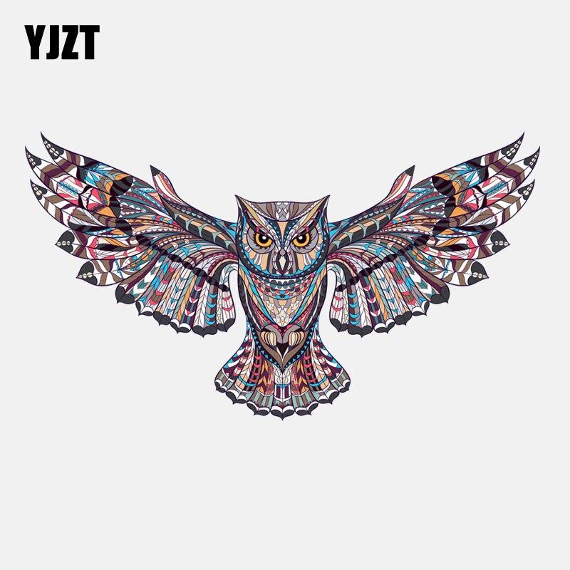 YJZT 18.1CM*10.2CM Personalized Owl Tribal Totem PVC Car Sticker 11-01288