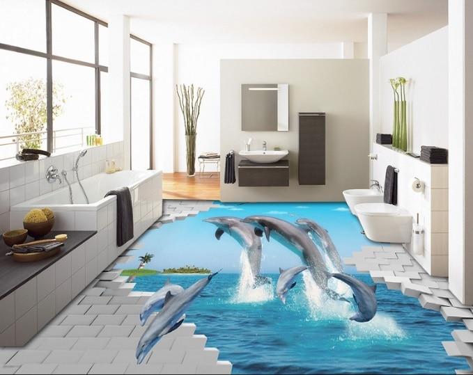 [Self-Adhesive] 3D Dolphin Island Brick 55 Non-slip Waterproof Photo Self-Adhesive Floor Mural Sticker WallPaper Murals Print