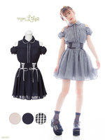 Plus Size High Quality Summer Women Japan Brand Short Sleeve Dress Lolita Princess Cute Black Plaid