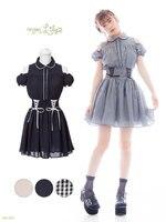 Mulheres de verão de alta qualidade Japão marca de manga curta vestido Lolita princesa Bonito Preto xadrez uma peça vestido irmã Macio Inglaterra OP