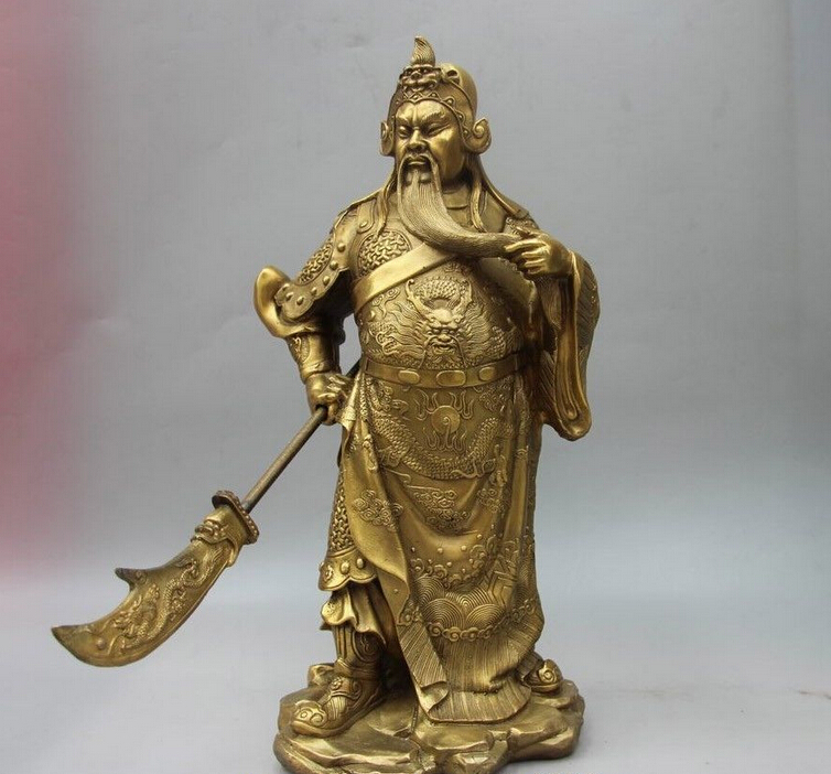 Collectable Tibet Silver Warrior God Guan Yu Statue