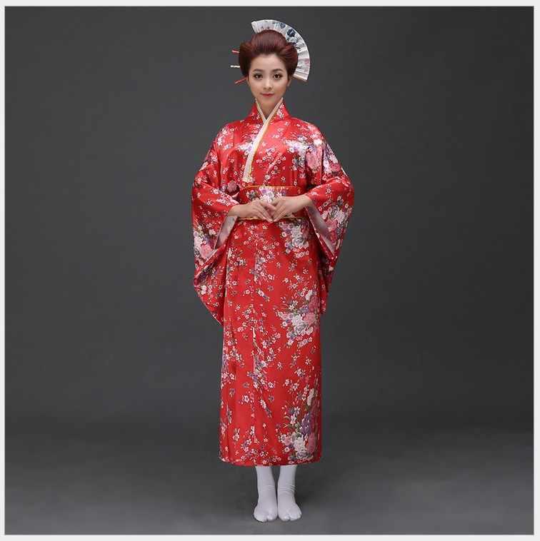 חדש הגעה יפני Traditioinal סאטן קימונו קלאסי יאקאטה עם אובי סקסי בציר נשים של שמלה לנשף פרחוני אחת גודל