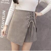 Camurça de lã ocasional magro quadril saia feminina saia curta espessamento busto saia cinta cintura alta primavera e inverno saia de couro